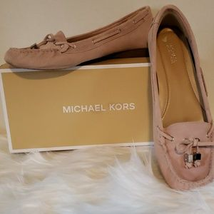 Pink suede Michael Kors loafers